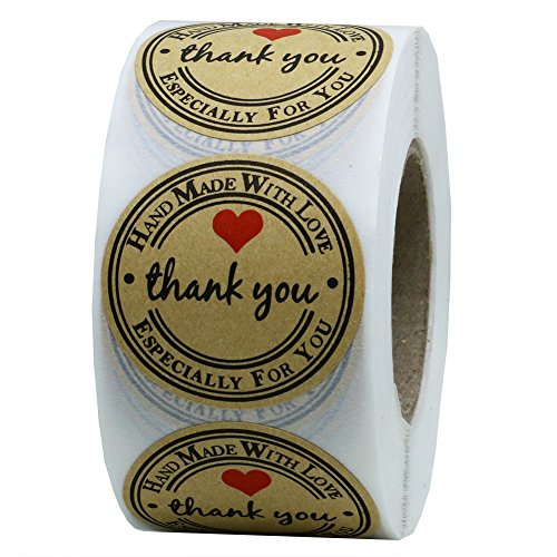 Hybsk Kraft Thank You Hand Made with Love with Red Heart Stickers 1.5