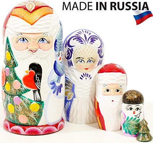 craftsfromrussia Santa and Friends - Russian Nesting Doll - Hand Painted (6.75`` (5 Dolls in 1), Wooden Santa Nesting Doll - ()