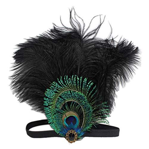 YSJOY Elastic Ostrich Feather Headband Indian Crystal Headpiece Fascinator Flapper Carnival Costume Headpiece Pageant Headband Black -