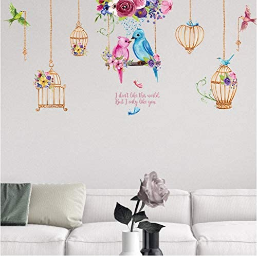 Birdcage Wall Art Decal Vinyl Sticker Decor Mural Transfer Bird Cage Birdhouse