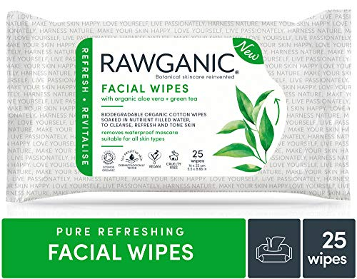 RAWGANIC Refreshing Makeup removing Facial Wipes, Aloe Vera, Organic ALL Natural Chemical Free 25-Count (Best Organic Makeup For Sensitive Skin)