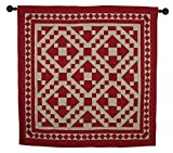 Red Diamond Square Wall Hanging Quilt 44 Inches by 44 Inches 100% Cotton Handmade Hand Quilted Heirloom Quality