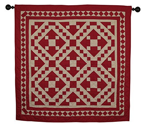 Red Diamond Square Wall Hanging Quilt 44 Inches by 44 Inches 100% Cotton Handmade Hand Quilted Heirloom Quality (Country Quilt Wall Hanging compare prices)