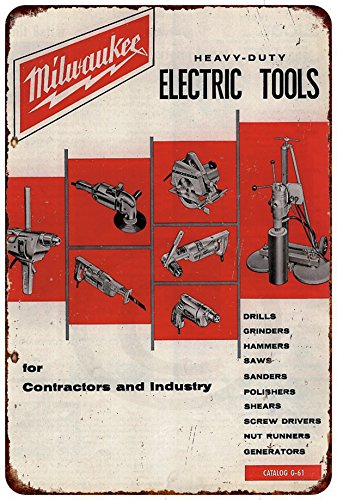 (Milwaukee Electric Power Tools Workshop Ad Reproduction metal sign 8 x 12)