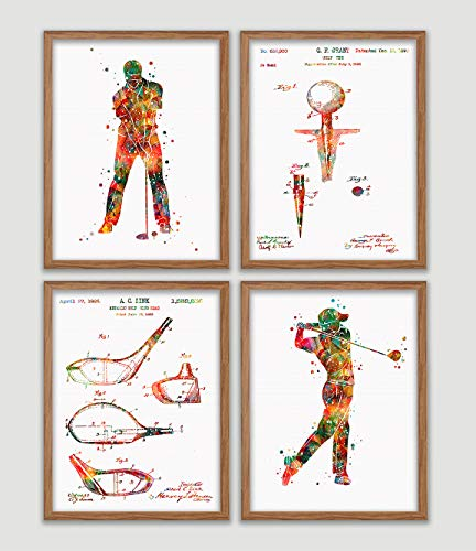 Golf Player and Golf Patent Watercolor Poster Set Golfer Print Golf Clubs Wall Art Golf Tee Wall Decor Sports Room Office Decor Golfing Art Great Gift for Golfer