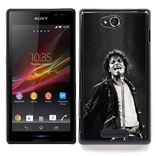 Snap-on Series Plastic Back Case Shell Skin Cover for SONY Xperia C S39H C2305 , ( MJ Jackson Super Star ) (Sony C2305)