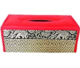 chantubtimplaza Tissue Box Cover Thai Handicraft Elephant Silk Reed Orange Color Handmade Home Decor