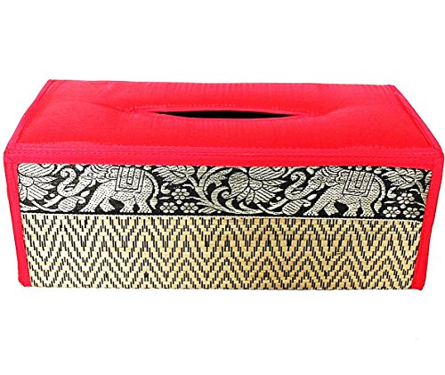chantubtimplaza Tissue Box Cover Thai Handicraft Elephant Silk Reed Orange Color Handmade Home Decor by chantubtimplaza