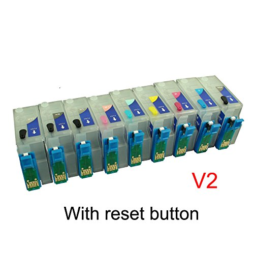 CEYE R3000 Stylus Photo R3000 Printer Refillable Ink Cartridge Empty with Resetter Button V2 -