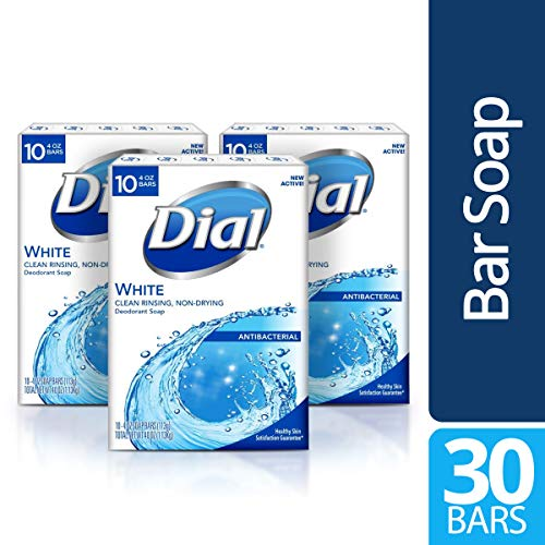 Dial Antibacterial Bar Soap, White, 30 Count Bar Soap White Tea