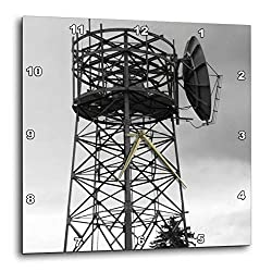 3dRose Jos Fauxtographee- Electrical Tower - A Black and White of an Electrical Tower with a Gloomy Sky - 13x13 Wall Clock (DPP_293916_2)
