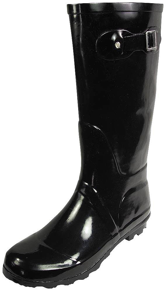 NORTY Womens Hurricane Wellie Solid Gloss Hi-Calf Rain Boot, Black 38740-9B(M) US