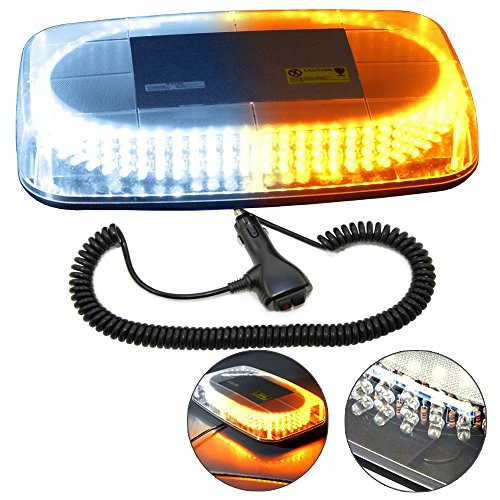 HQRP 240 LED Magentic Emergency Amber/White Strobe Mini Light Bar Tow/Plow Escort Safety for Truck Car Auto plus HQRP Coaster ()