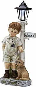 Floryden Outdoor Boy Garden Statue with Solar Led Light, Little Boy with Dog Welcome Statues Great for Backyard, Porch, Lawn, Yard Art Decorations, Housewarming Garden Gift, Multicolored