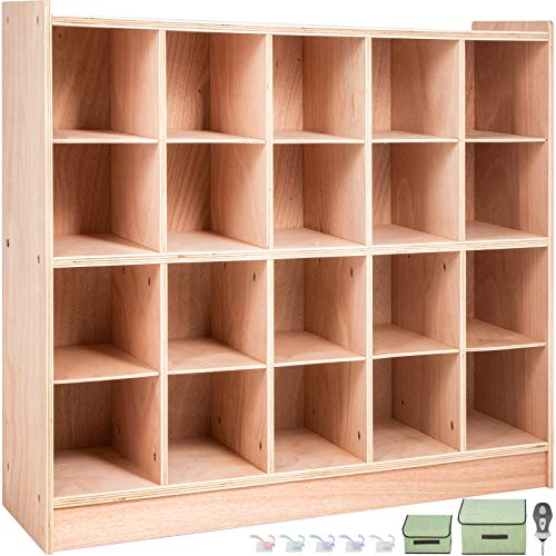 Happybuy Cubby Wooden Storage Unit 20 Cubby Storage Unit Classroom 30 Inch High Plywood Wooden Cubbies for Classroom