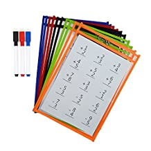 Godery Dry Erase Pockets, Reusable Write and Wipe Pockets Assorted Colors, With 3 Wipe Off Markers, 10X Dry Erase Pocket Sleeves - Ideal to Use at School or at Work