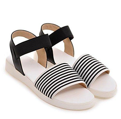 Elastische Damesmode Strepen Elastische Bandjes Stof Open Teen Slingback Flats Sandalen Zwart