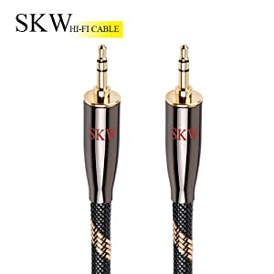 SKW Audiophiles AUX Cable 3.5mm Male to Male with OD 6.8mm Stereo Audio Cable for Subwoofer,Home Theater and More (9.8ft/3M,Nylon)