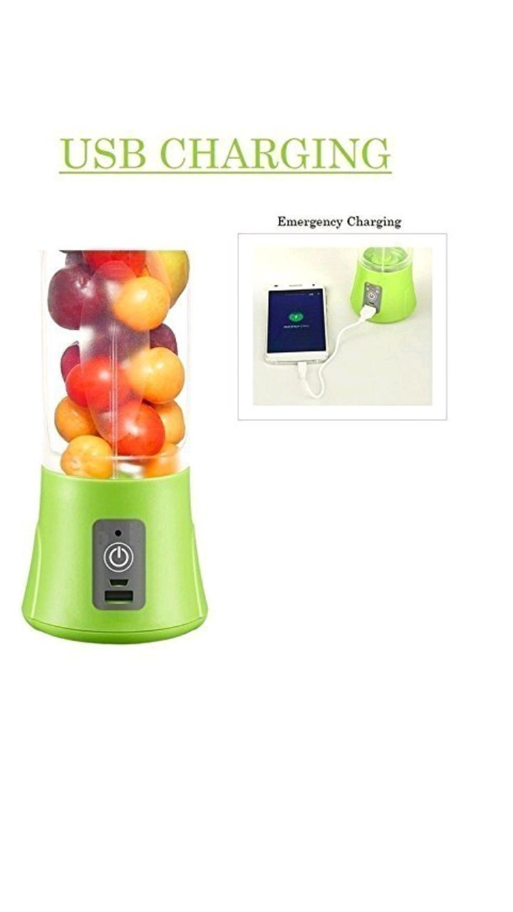 Tiru Traders Portable Usb Electric Juicer, Blender Drink Bottle,380Ml Juicer Cup With 2000 Mah Power Bank