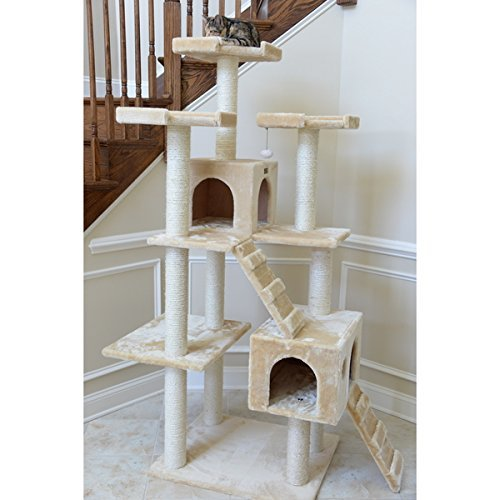 Armarkat 74-inch Beige Jungle Gym Cat Tree With 2 Condos, White1