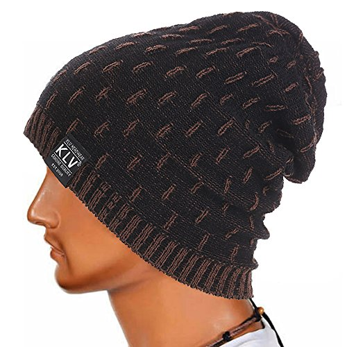 Bolayu Men Women Warm Crochet Winter Wool Knit Ski Beanie Skull Slouchy Caps Hat (Black) by Bolayu (Image #1)