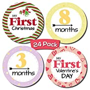 24 Pack Baby Milestone Stickers; Includes 12 Monthly Stickers and 12 First Holidays Stickers, Great Shower Registry Gift Or Scrapbook Photo Keepsake