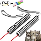 FYNIGO Cat Toys Wand,Interactive Light Toys for Cats and Dogs,2 in 1 Function Red Light Pointer/LED Flashlight,Pet Chaser Toys for Exercise(2 pack)