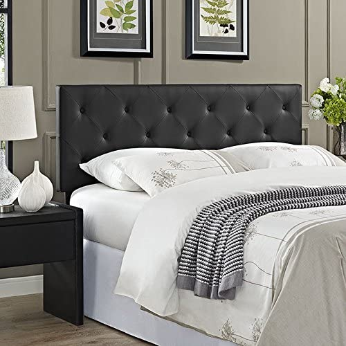 Modway Terisa Tufted Faux Leather Queen Size Headboard in Black