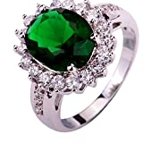 YAZILIND Lady's Silver Plated Flower Shape Emerald Zircon Ring For Women Gift Size