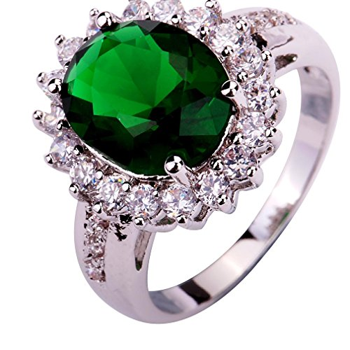 YAZILIND Lady's Silver Plated Flower Shape Emerald Zircon Ring For Women...