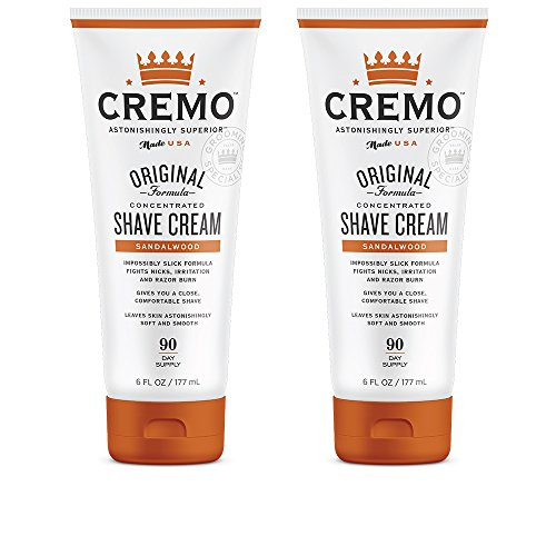 (Cremo Sandalwood Shave Cream, Astonishingly Superior Smooth Shaving Cream Fights Nicks, Cuts and Razor Burn, 6 Fluid Ounces, 2-Pack)