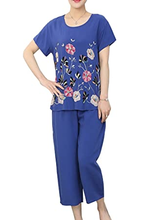 Guiran Pijamas Mujer Camisa Mangas Cortas Pantalon Ropa De Dormir Loungewear Azul XL