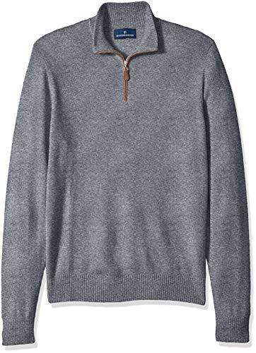 BUTTONED DOWN Men's 100% Premium Cashmere Quarter-Zip Sweater, Grey, ()
