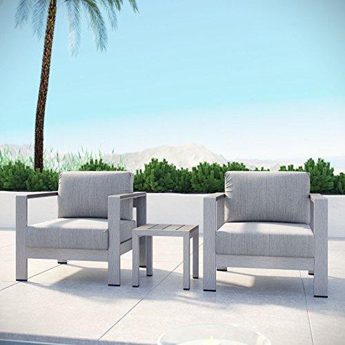 (Modway Shore 3-Piece Aluminum Outdoor Patio Furniture Set in Silver Gray)