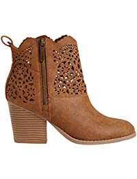 Maurices Women's Beverly Faux Leather Laser Cut Western Boot