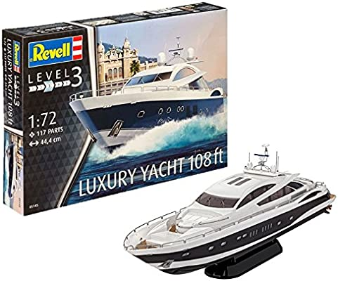 Revell- Maqueta Luxury Yacht 108 Ft, Kit Modello Escala 1:72 (5145) (05145), 44.4 cm de Largo (
