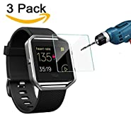 Fitbit Blaze Screen Protector (3 Packs), CAVN Premium HD Clear Tempered Glass Screen Protector for Fitbit Blaze Smart Watch, 9H Hardness Multi-layer Explosion-proof and Anti-Bubble Screen Guard
