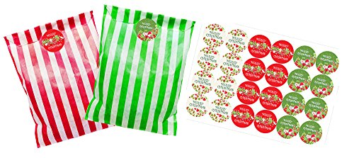 Striped paper party bags, pack of 24 with 30 mm 'Merry Christmas' Stickers, bags available in Green or Red (Red and white striped bags)