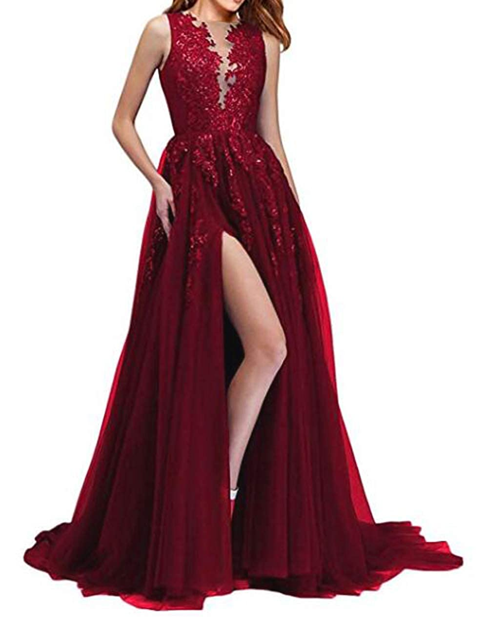 Burgundy alilith.Z Sexy Side Slit Prom Dresses 2019 Long Sequins Lace Appliques Party Gowns Formal Dresses for Women Evening Ball