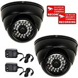 VideoSecu 2 Pack Built-in 1/3 Sony Effio Color CCD 600TVL IR Day Night Dome Security Cameras Outdoor Vandal Proof High Resolution 3.6mm Wide Angle Lens for Home CCTV DVR with Power Supplies WR1
