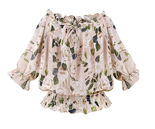Shawhuaa Womens Floral Chiffon Shoulder product image