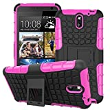 HTC Desire 526G+ Case, Mama Mouth Shockproof Heavy Duty Combo Hybrid Rugged Dual Layer Grip Case Cover with Kickstand For HTC Desire 526G+ (With 4 in 1 Free Gift Packaged:Black Stylus Touch Pen,Black Silicone Fish Headset Wrap,Black Micro USB Port Anti Dust Plugs,Black 3.5mm Headphone Jack Anti Dust Plugs), Pink