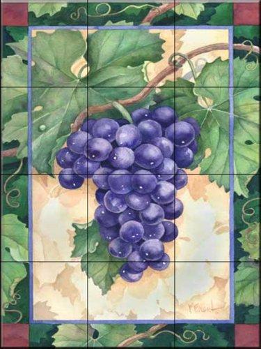 Ceramic Tile Mural - Cabernet Grapes 1 - by Paul Brent - Kitchen backsplash / Bathroom shower Cabernet Pear