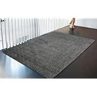 Ottomanson Luxury Collection Solid Rug with Non-Slip/Rubber-Backing Kitchen Area and Bath Rug, 50 X 66, Grey