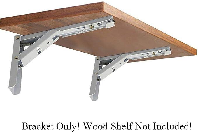 Black AddGrace 2 Pack Folding Shelf Bracket Bench Table Support Wall Mounted Iron Triangle Collapsible Shelf Bracket 8 inch