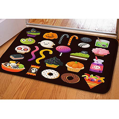 iBathRugs Door Mat Indoor Area Rugs Living Room Carpets Home Decor Rug Bedroom Floor Mats,Set Colorful Treats Halloween Party]()