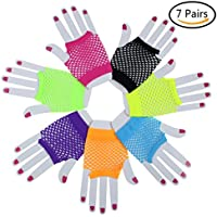 7 Pairs Stretchy Fingerless Fishnet Gloves for Parties, Assorted Brighted Color