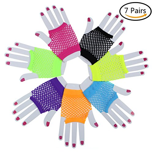 Dress Up 80s Costumes (7 Pairs Stretchy Fingerless Fishnet Gloves for Parties, Assorted Brighted Color)