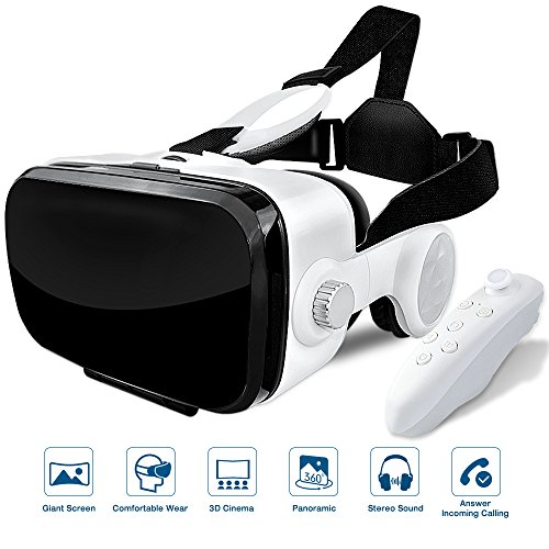 Elzoneta Reality Virtual VR Headset 3D Glasses - with Bluetooth Remote Controller and Earphones for Video Games, Adjustable Lens Reality Helmet for iphone, Android Mobile Phone