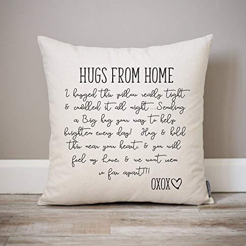 Hugs from Home Pillow Dorm Decor Going Away Gift Gift for Son Gift for Daughter College Dorm Gift Dorm Pillow College Gift